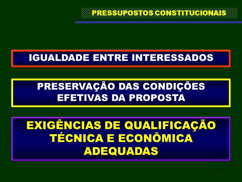 EXIGÊNCIAS DE QUALIFICAÇÃO TÉCNICA E ECONÔMICA ADEQUADAS