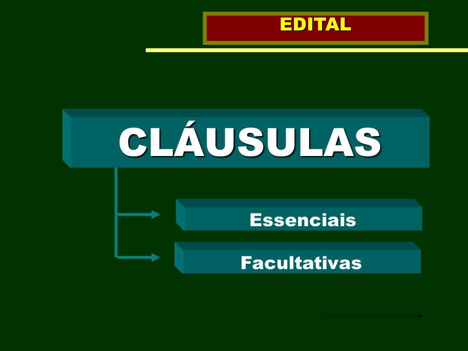 EDITAL CLÁUSULAS Essenciais Facultativas