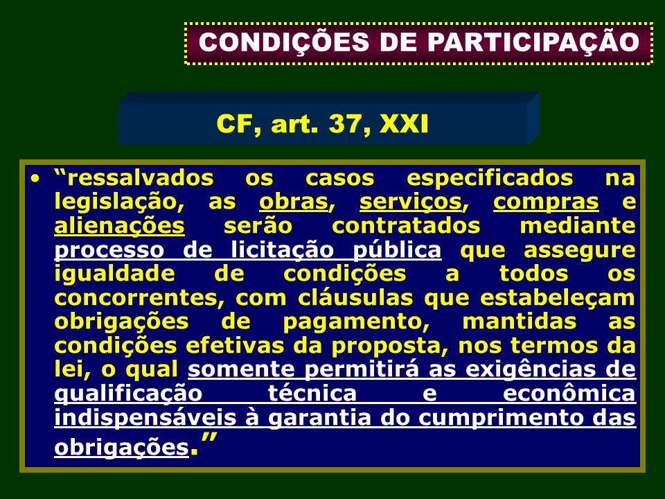 CONDIÇÕES DE PARTICIPAÇÃO
