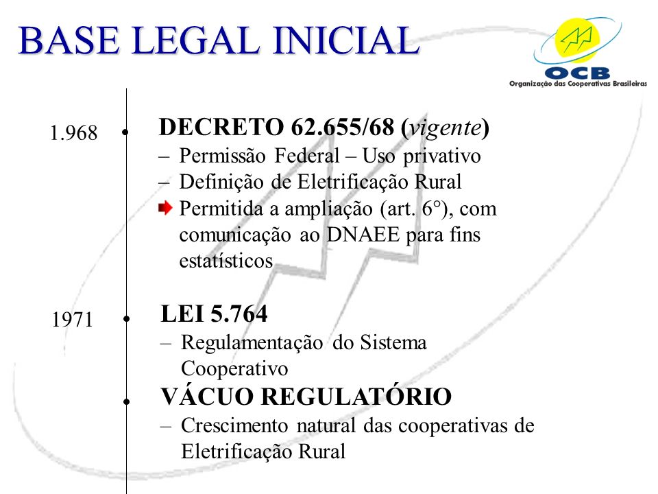 BASE LEGAL INICIAL DECRETO 62.655/68 (vigente) LEI 5.764