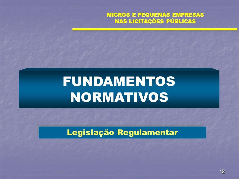 FUNDAMENTOS NORMATIVOS Legislação Regulamentar