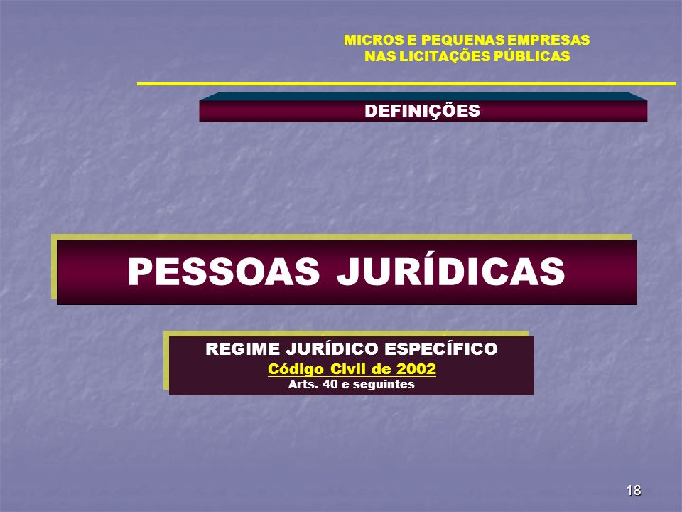 PESSOAS JURÍDICAS DEFINIÇÕES