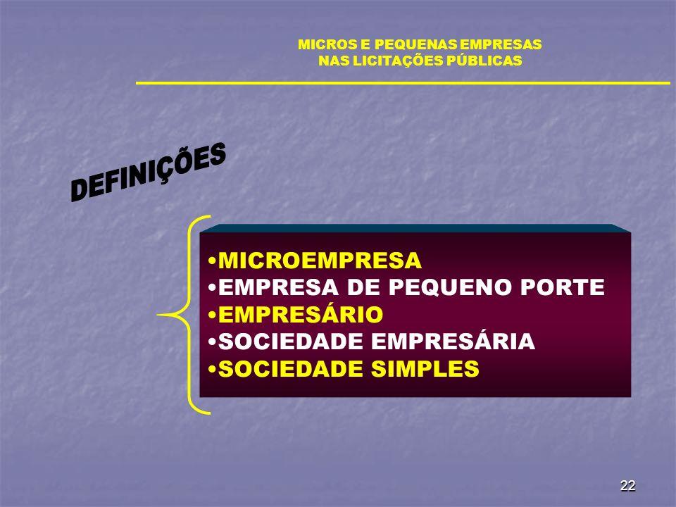 MICROS E PEQUENAS EMPRESAS NAS LICITAÇÕES PÚBLICAS