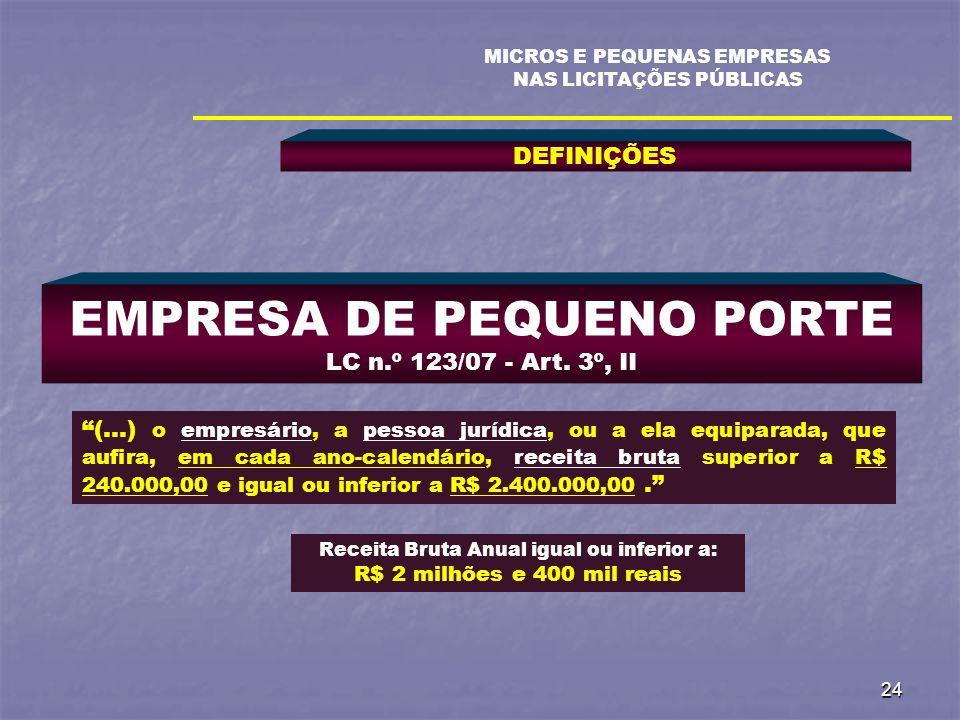 EMPRESA DE PEQUENO PORTE LC n.º 123/07 - Art. 3º, II