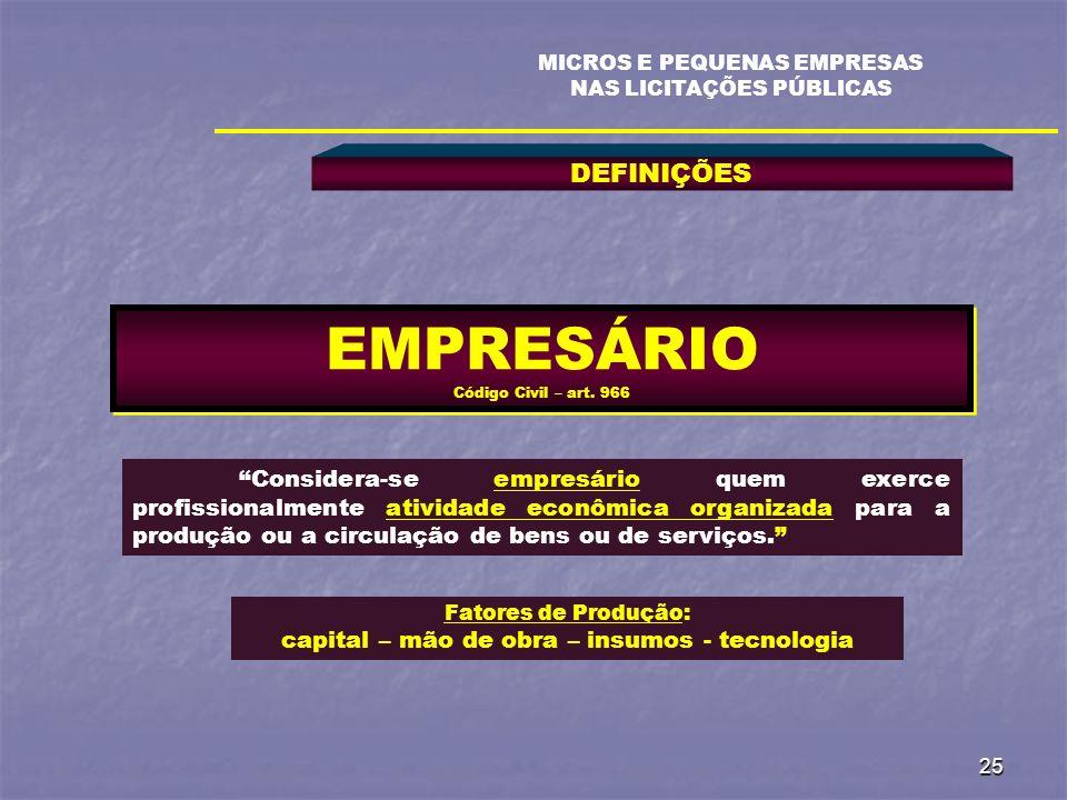 EMPRESÁRIO Código Civil – art. 966