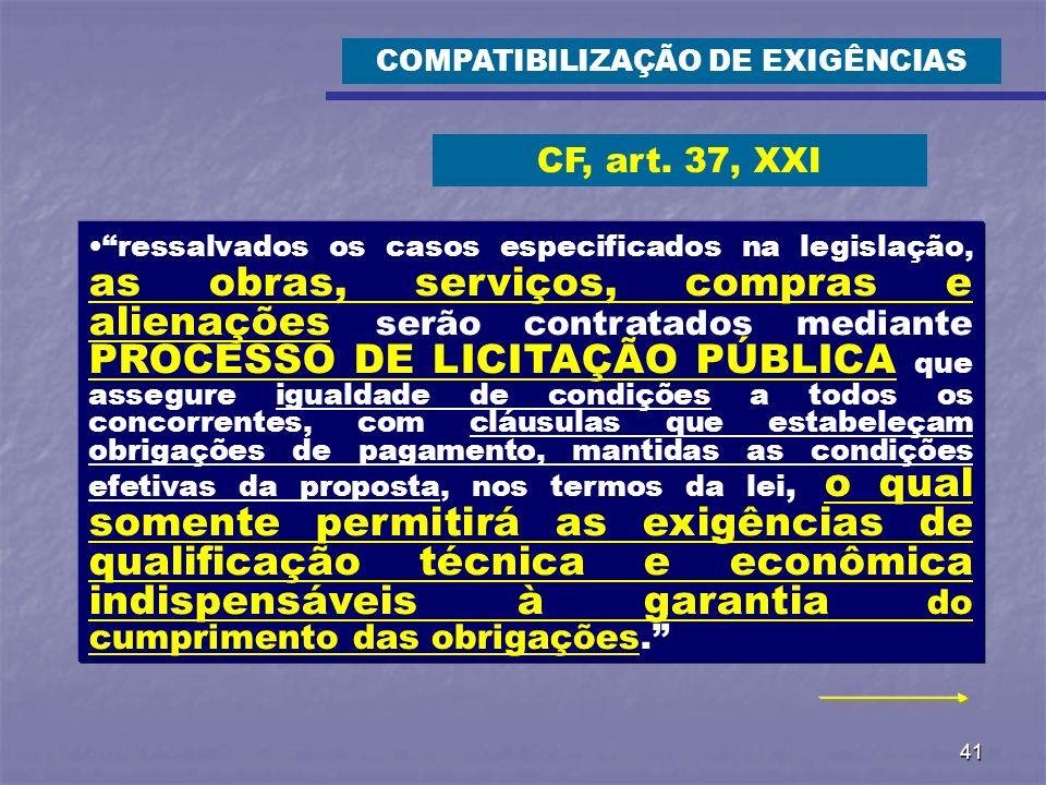 COMPATIBILIZAÇÃO DE EXIGÊNCIAS