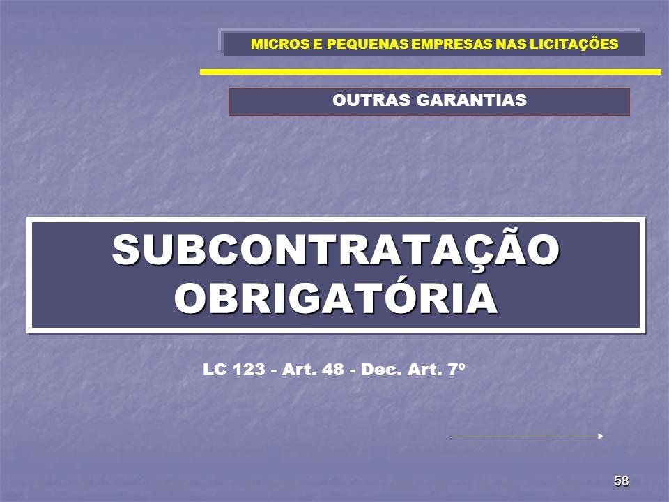 SUBCONTRATAÇÃO OBRIGATÓRIA