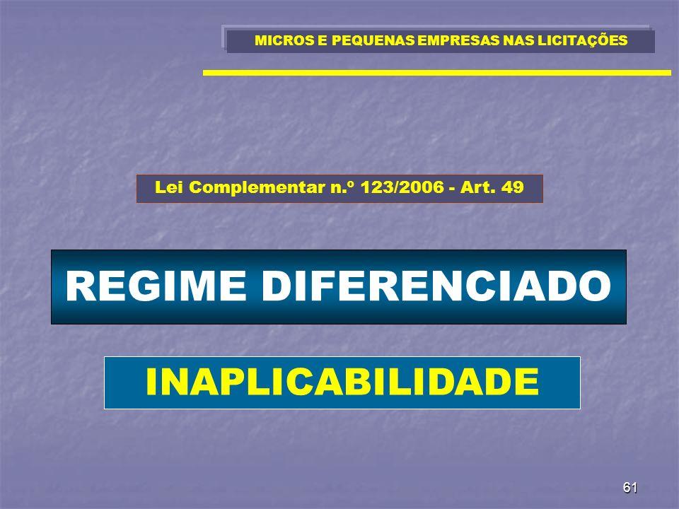 REGIME DIFERENCIADO INAPLICABILIDADE