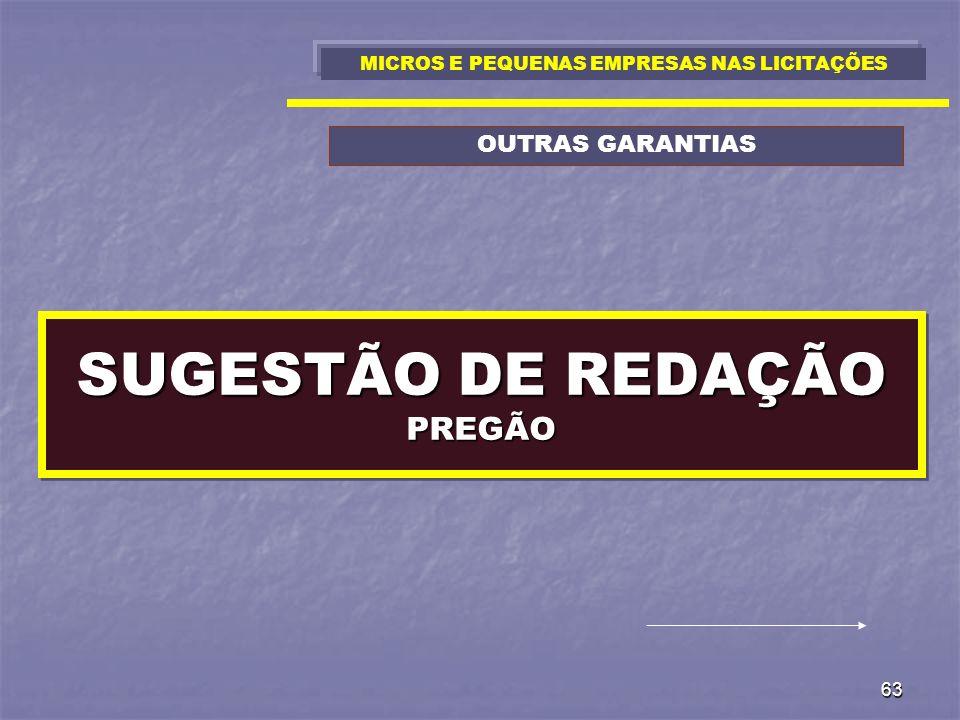 SUGESTÃO DE REDAÇÃO PREGÃO