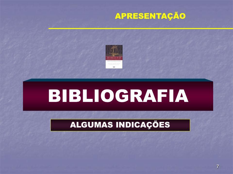 APRESENTAÇÃO BIBLIOGRAFIA ALGUMAS INDICAÇÕES