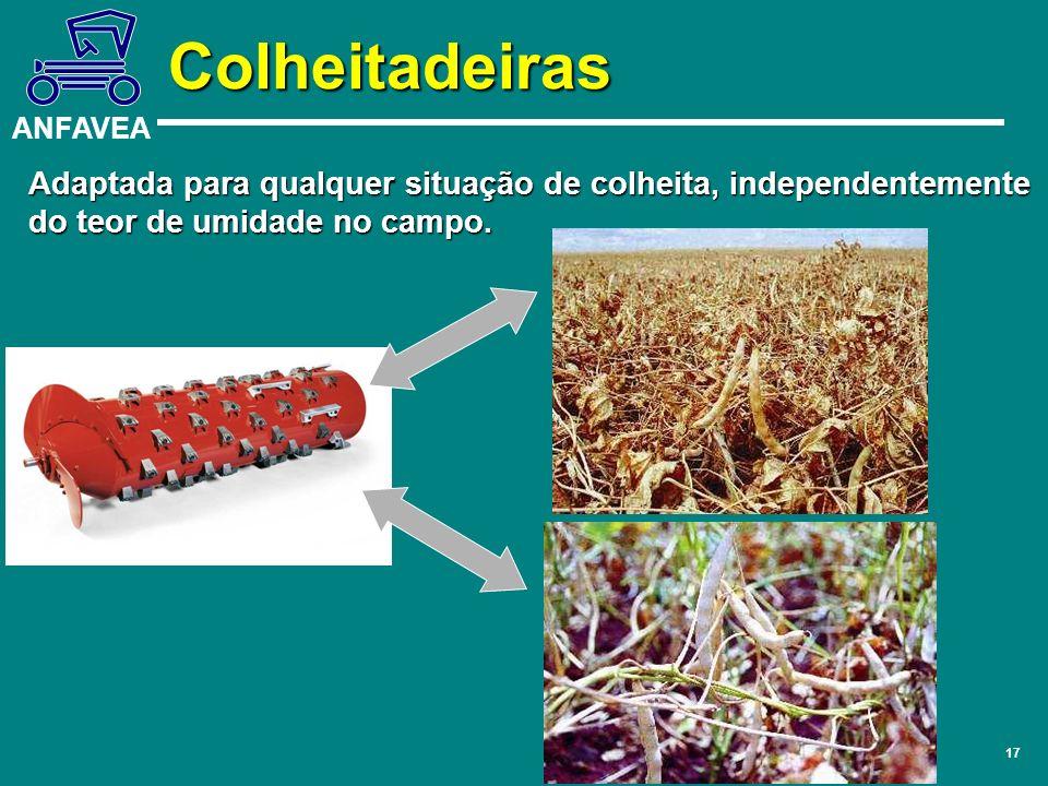 Colheitadeiras Adaptada para qualquer situação de colheita, independentemente do teor de umidade no campo.