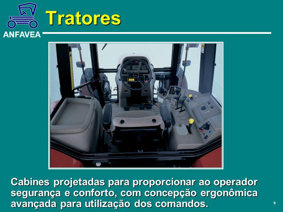 Tratores Cabines projetadas para proporcionar ao operador segurança e conforto, com concepção ergonômica avançada para utilização dos comandos.