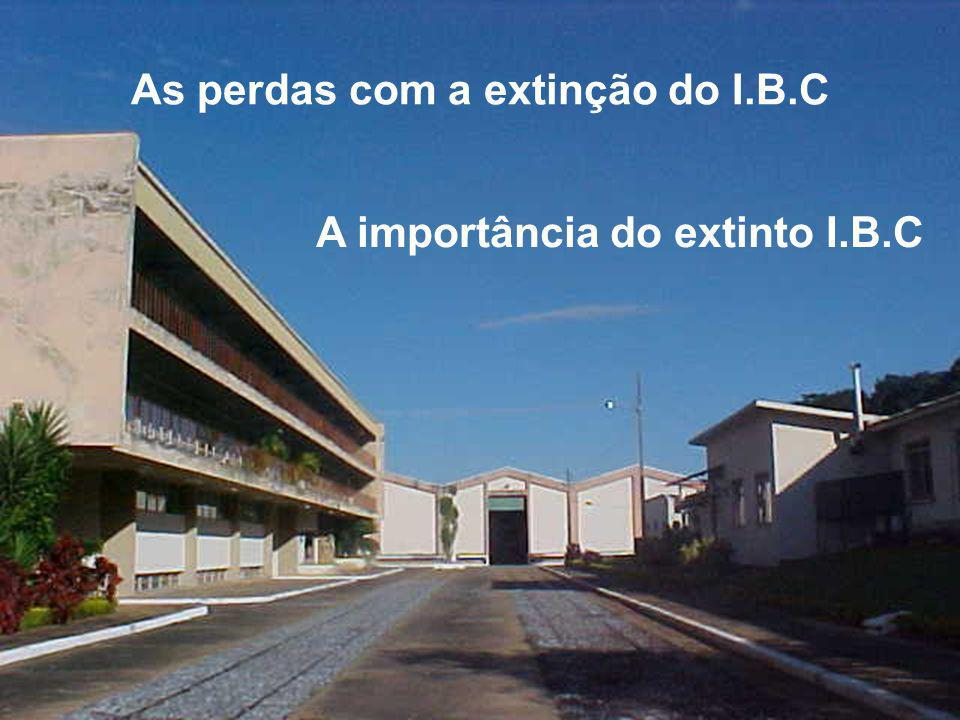As perdas com a extinção do I.B.C