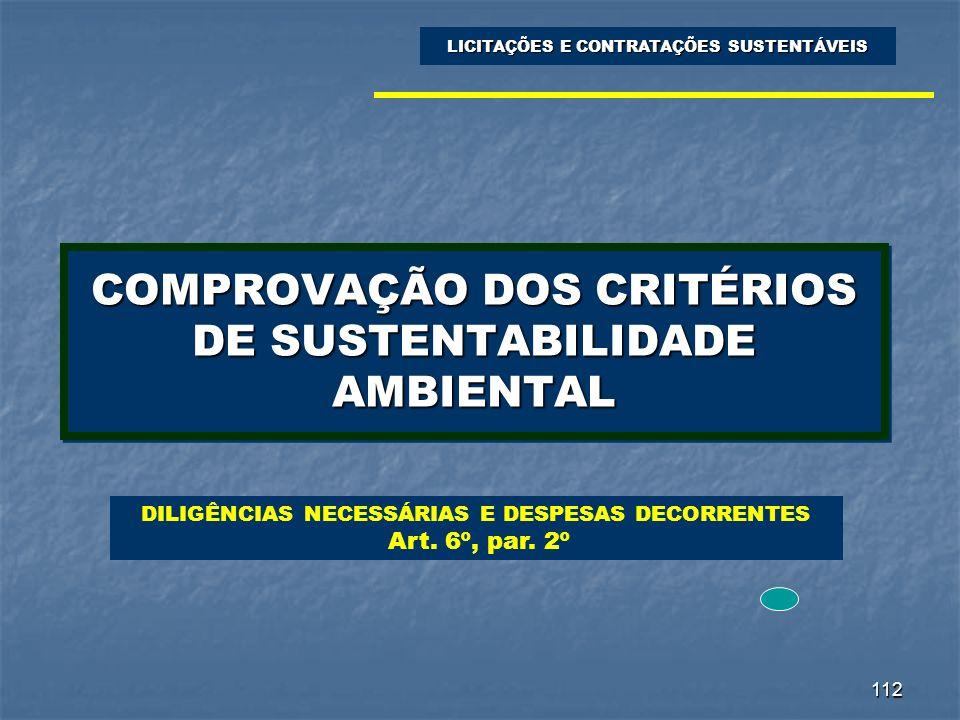 COMPROVAÇÃO DOS CRITÉRIOS DE SUSTENTABILIDADE AMBIENTAL