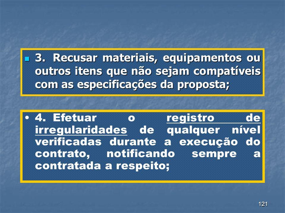 3. Recusar materiais, equipamentos ou outros itens que não sejam compatíveis com as especificações da proposta;