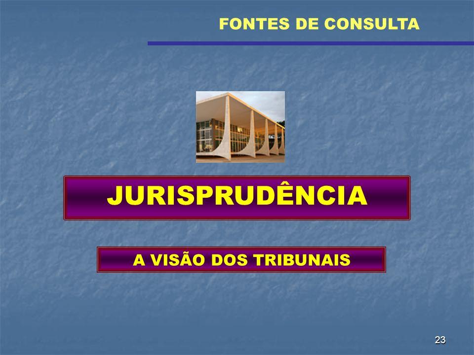 FONTES DE CONSULTA JURISPRUDÊNCIA A VISÃO DOS TRIBUNAIS