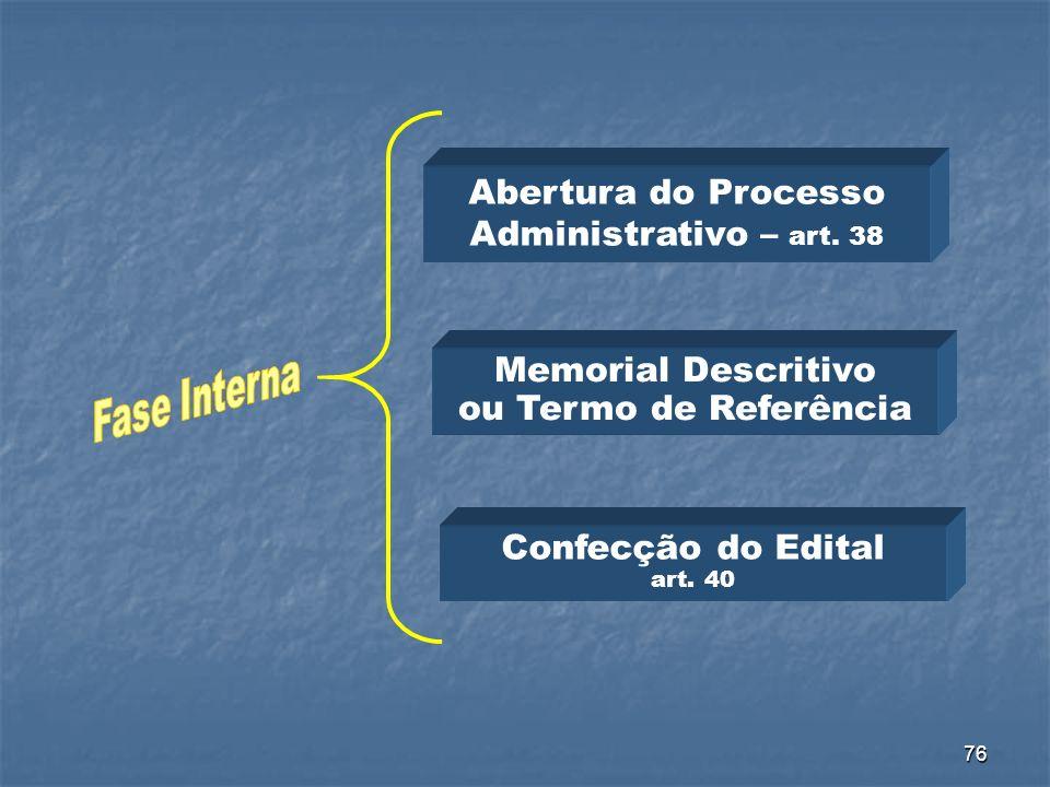 Abertura do Processo Administrativo – art. 38