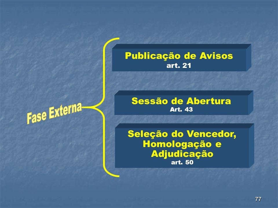 Publicação de Avisos art. 21