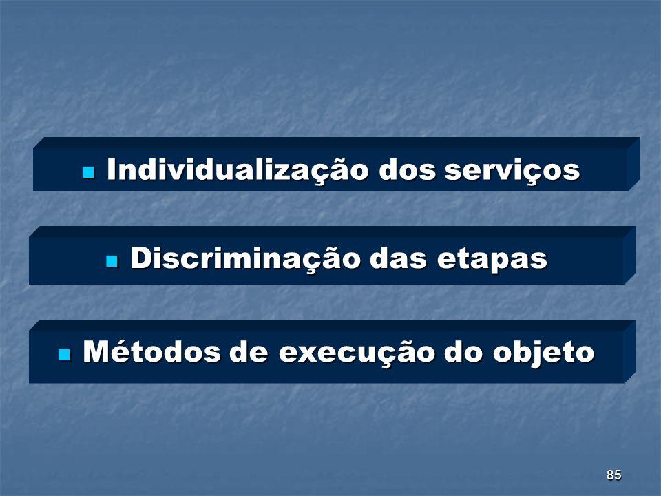 Individualização dos serviços