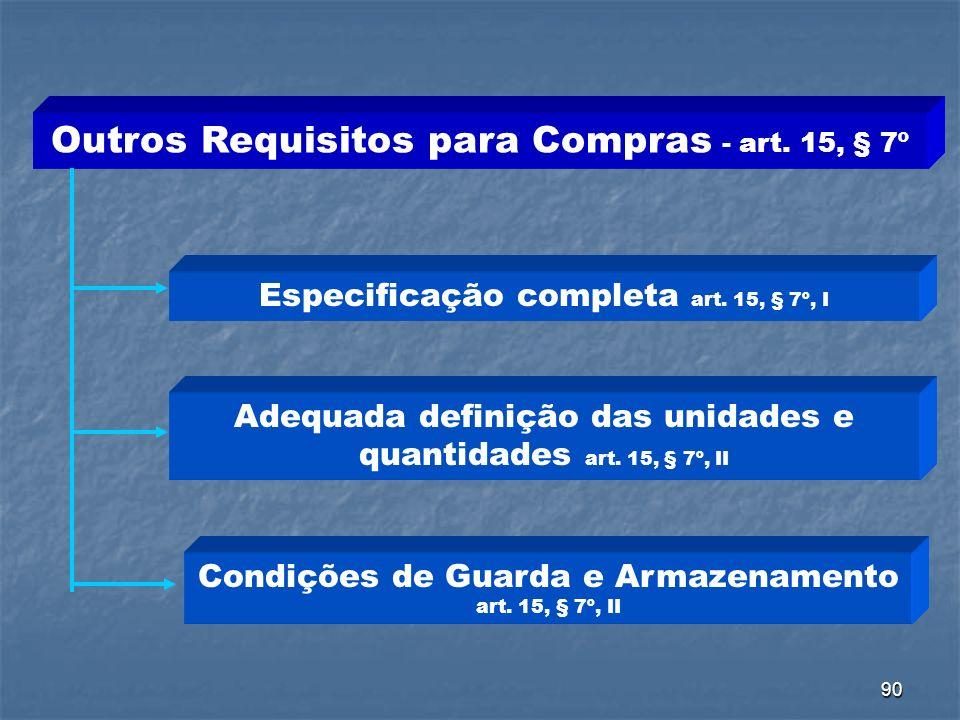Outros Requisitos para Compras - art. 15, § 7º