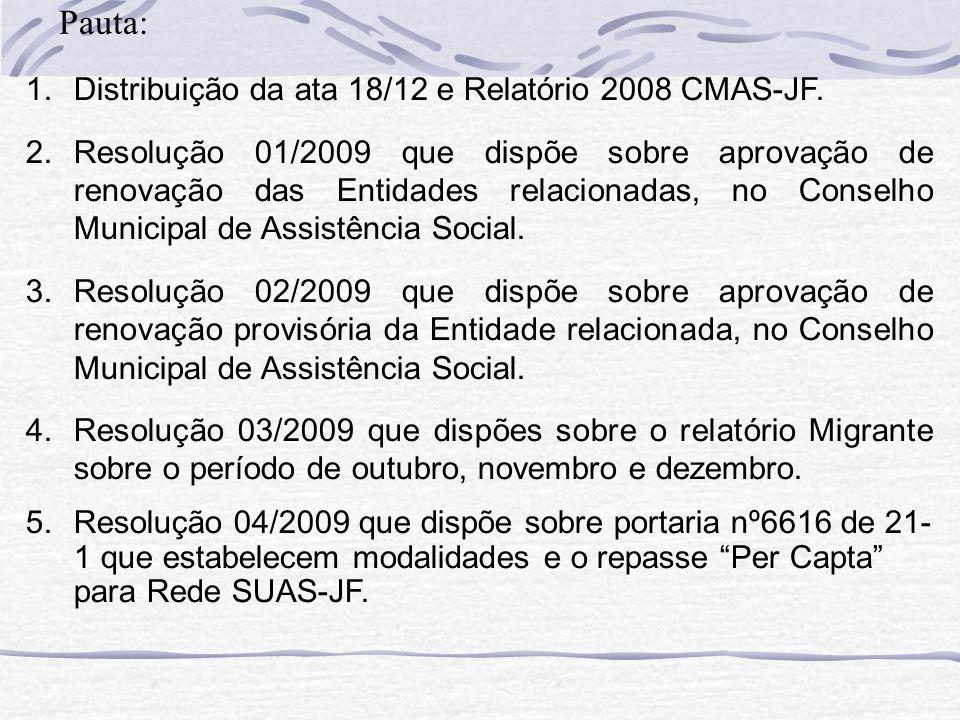 Pauta: Distribuição da ata 18/12 e Relatório 2008 CMAS-JF.