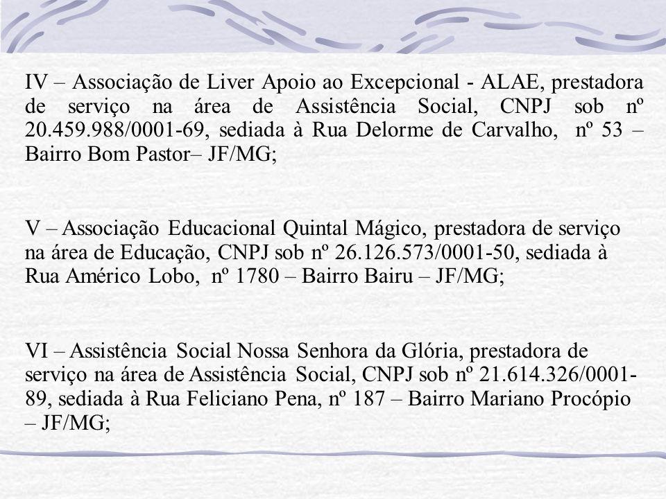 IV – Associação de Liver Apoio ao Excepcional - ALAE, prestadora de serviço na área de Assistência Social, CNPJ sob nº 20.459.988/0001-69, sediada à Rua Delorme de Carvalho, nº 53 – Bairro Bom Pastor– JF/MG;