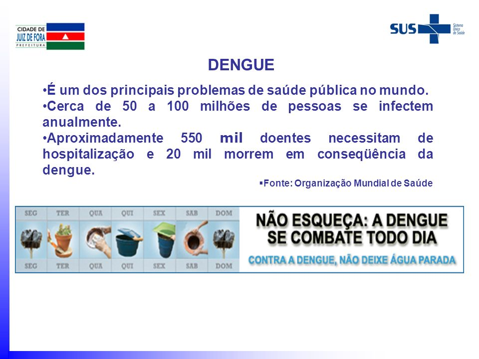 DENGUE É um dos principais problemas de saúde pública no mundo.