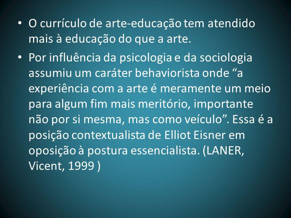 O currículo de arte-educação tem atendido mais à educação do que a arte.