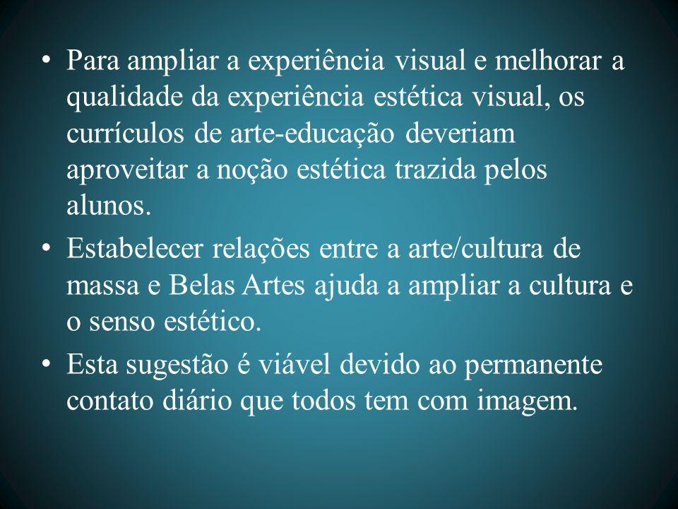 Para ampliar a experiência visual e melhorar a qualidade da experiência estética visual, os currículos de arte-educação deveriam aproveitar a noção estética trazida pelos alunos.
