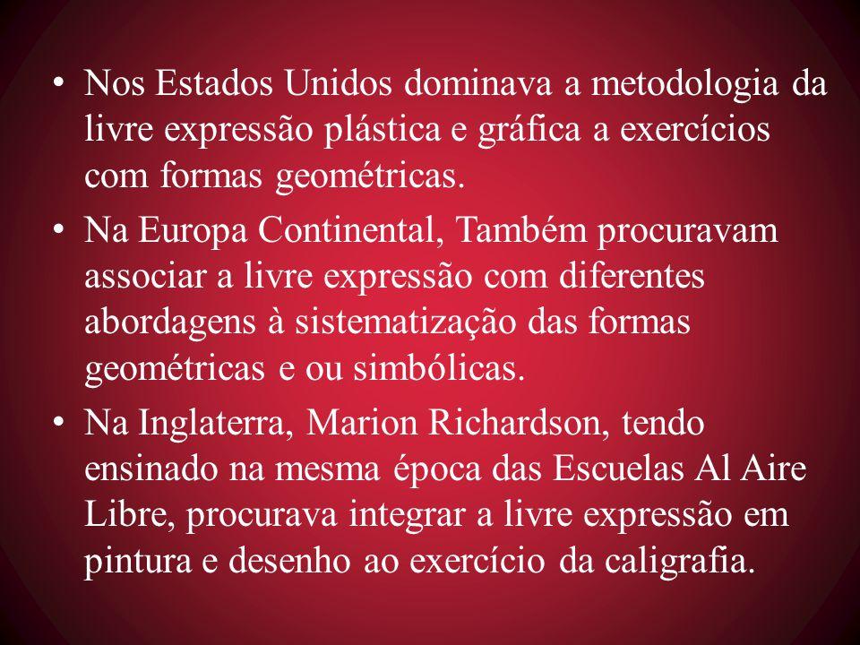 Nos Estados Unidos dominava a metodologia da livre expressão plástica e gráfica a exercícios com formas geométricas.