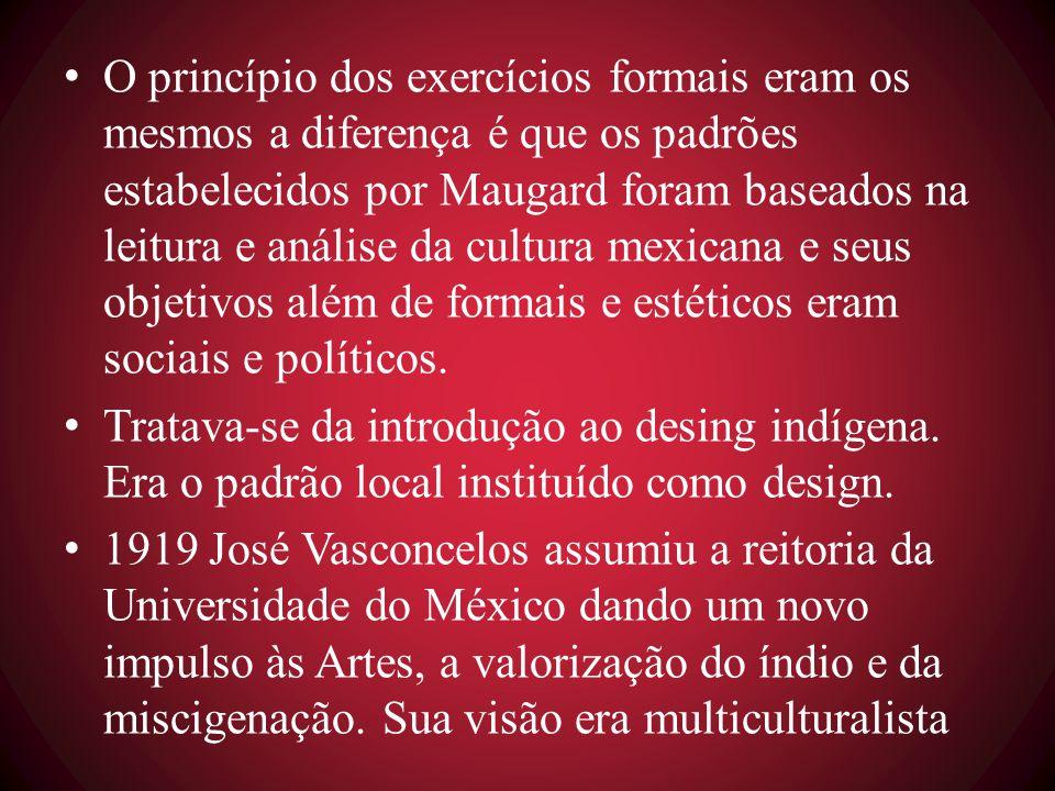 O princípio dos exercícios formais eram os mesmos a diferença é que os padrões estabelecidos por Maugard foram baseados na leitura e análise da cultura mexicana e seus objetivos além de formais e estéticos eram sociais e políticos.