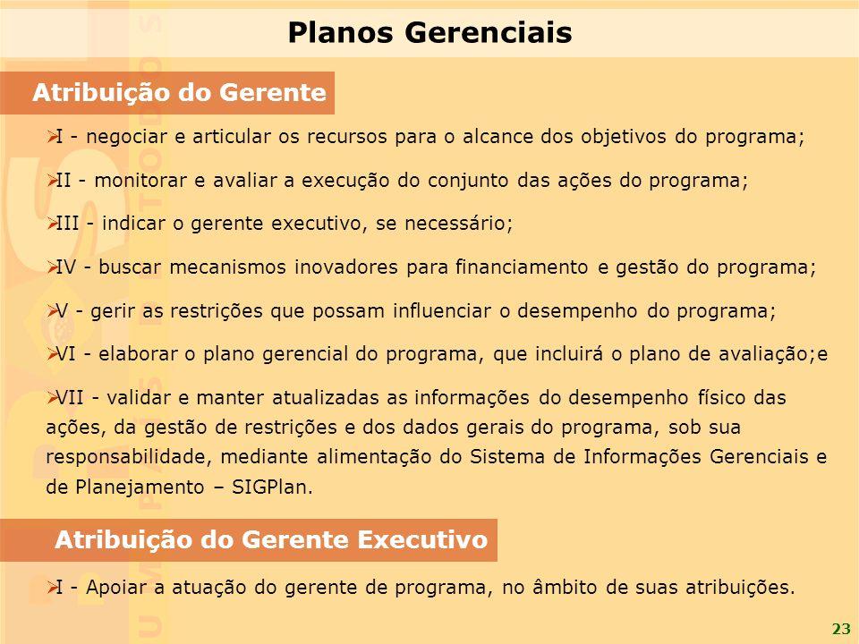 Planos Gerenciais Atribuição do Gerente