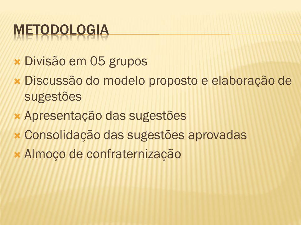 METODOLOGIA Divisão em 05 grupos
