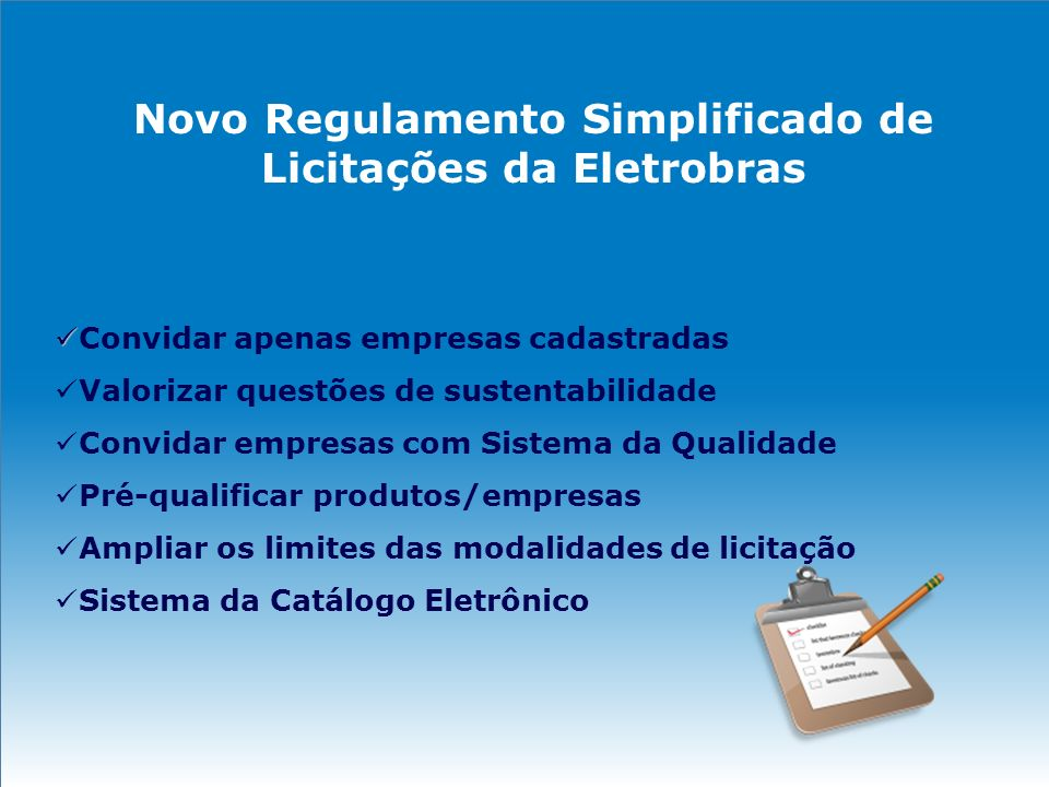 Novo Regulamento Simplificado de Licitações da Eletrobras