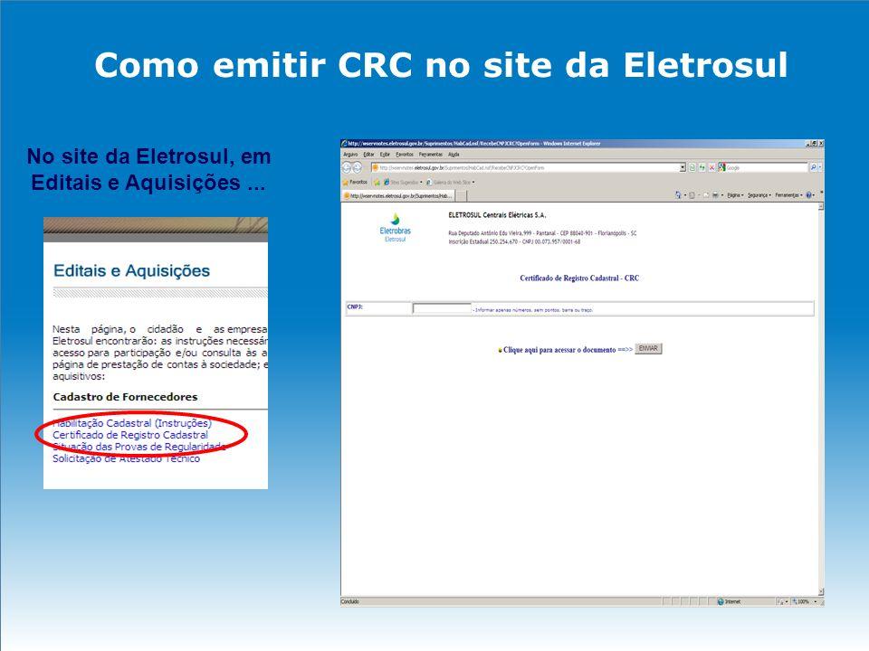 Como emitir CRC no site da Eletrosul