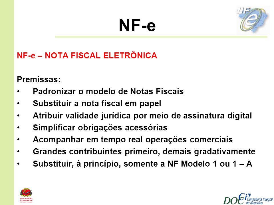 NF-e NF-e – NOTA FISCAL ELETRÔNICA Premissas: