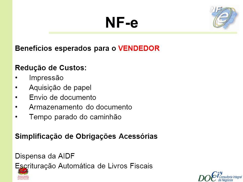 NF-e Benefícios esperados para o VENDEDOR Redução de Custos: Impressão