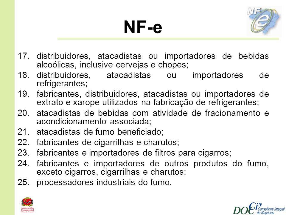 NF-e distribuidores, atacadistas ou importadores de bebidas alcoólicas, inclusive cervejas e chopes;