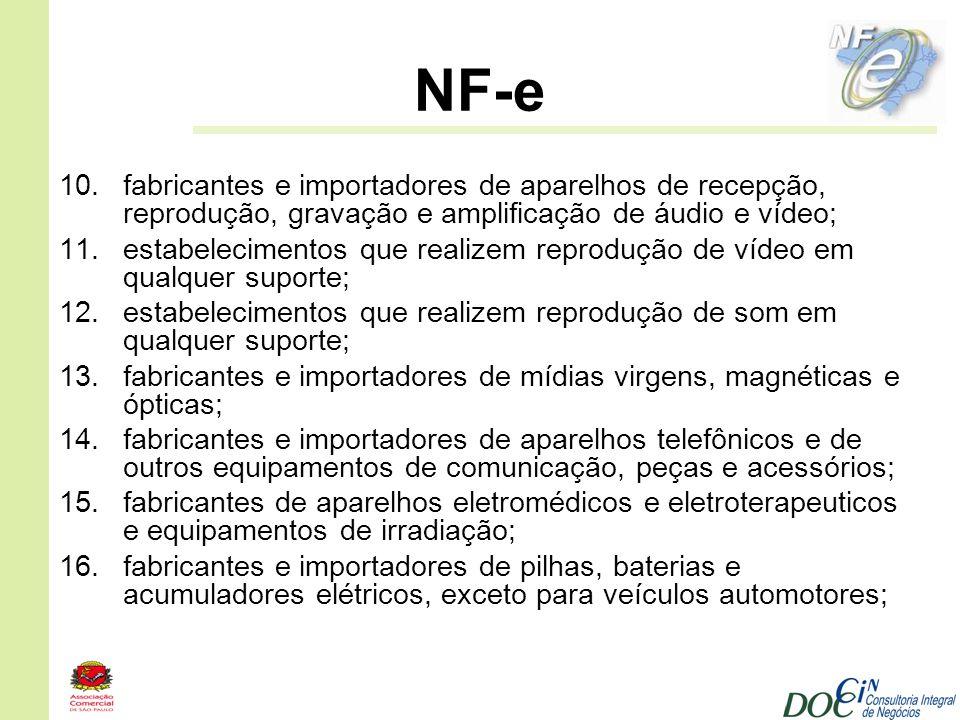 NF-e fabricantes e importadores de aparelhos de recepção, reprodução, gravação e amplificação de áudio e vídeo;
