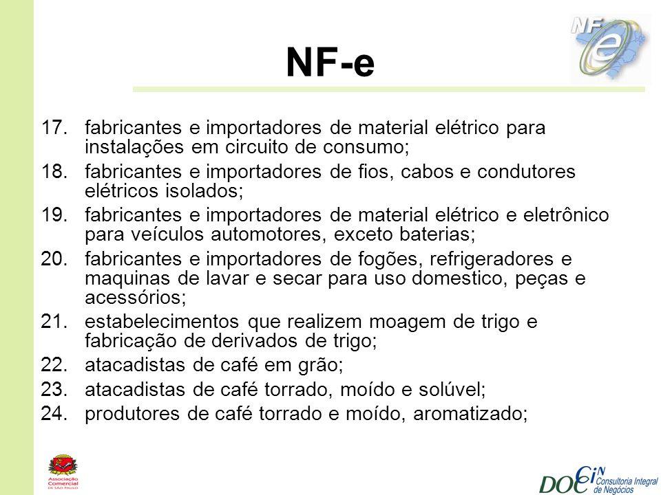 NF-e fabricantes e importadores de material elétrico para instalações em circuito de consumo;