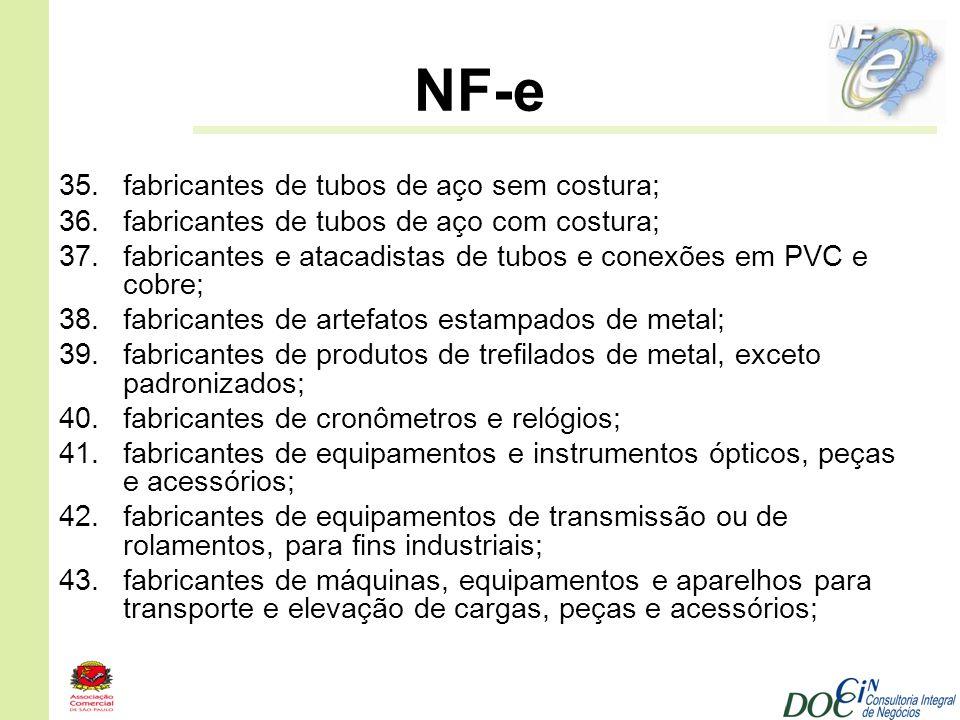 NF-e fabricantes de tubos de aço sem costura;