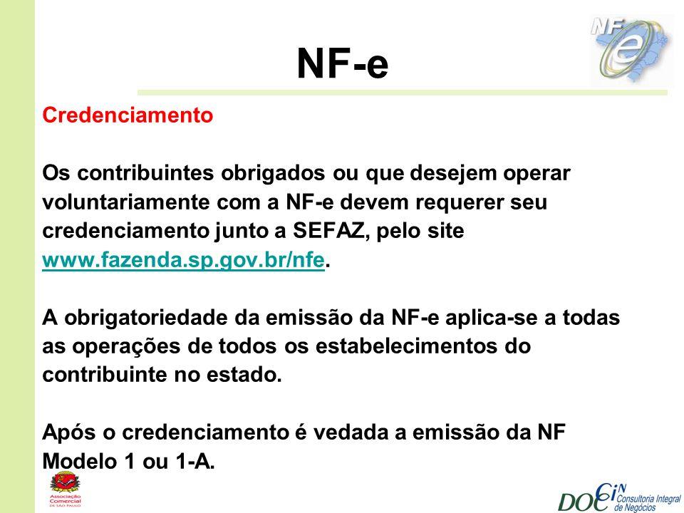 NF-e Credenciamento Os contribuintes obrigados ou que desejem operar