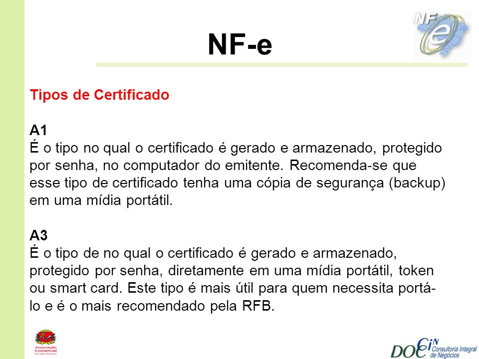 NF-e Tipos de Certificado A1