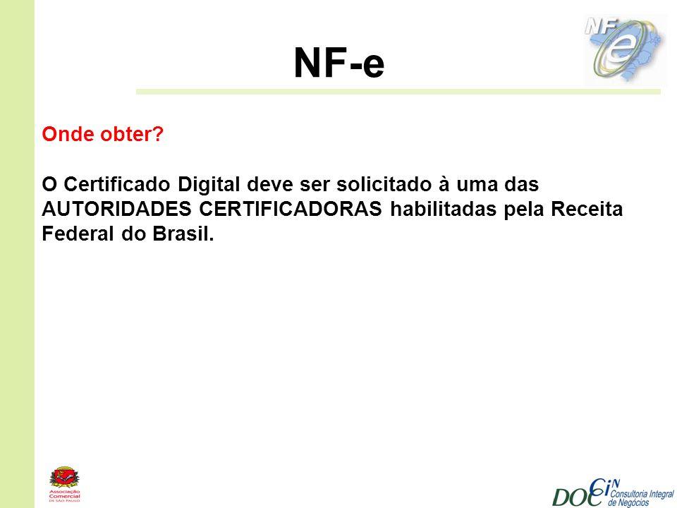 NF-e Onde obter O Certificado Digital deve ser solicitado à uma das