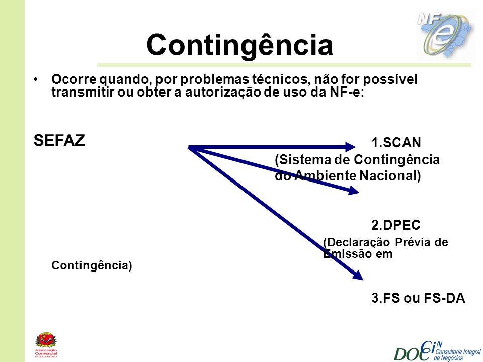 Contingência 1.SCAN SEFAZ 2.DPEC 3.FS ou FS-DA