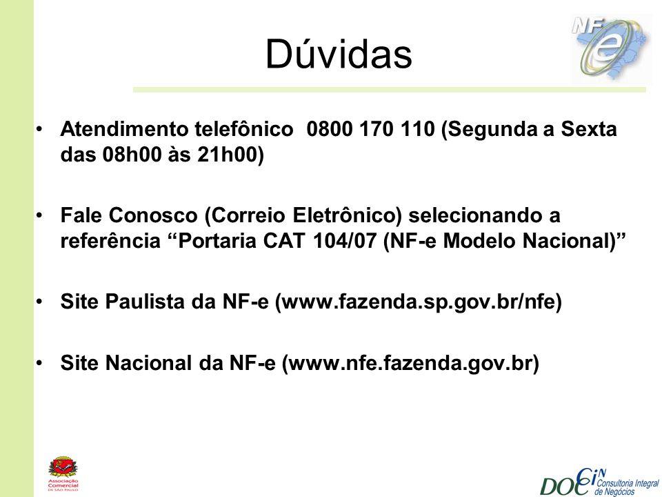 Dúvidas Atendimento telefônico 0800 170 110 (Segunda a Sexta das 08h00 às 21h00)