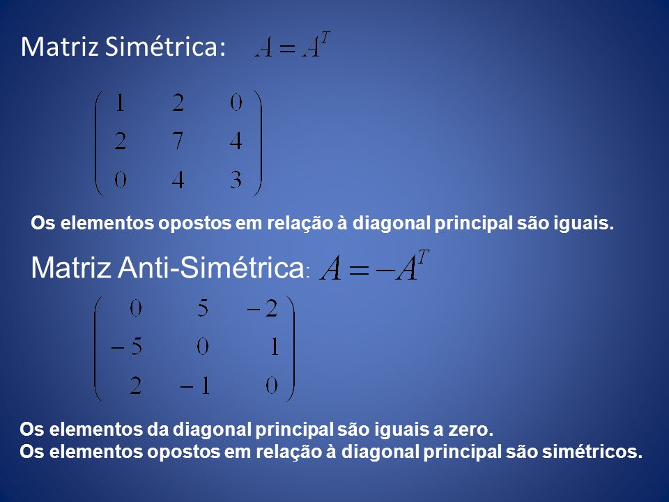 Matriz Anti-Simétrica: