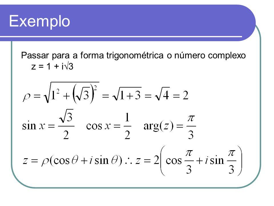 Exemplo Passar para a forma trigonométrica o número complexo z = 1 + i√3