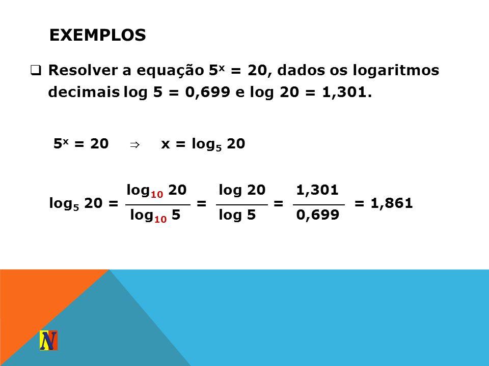 ExemplosResolver a equação 5x = 20, dados os logaritmos decimais log 5 = 0,699 e log 20 = 1,301. 5x = 20.
