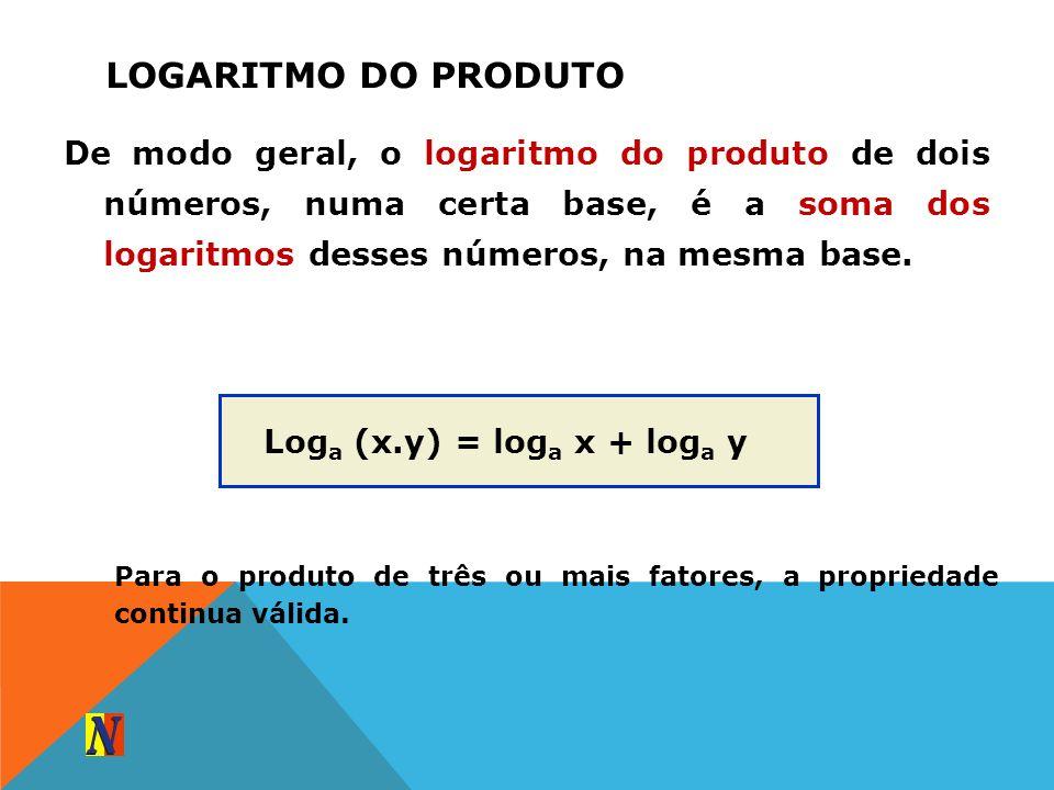 Logaritmo do produtoDe modo geral, o logaritmo do produto de dois números, numa certa base, é a soma dos logaritmos desses números, na mesma base.